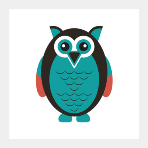 Cute Fat Owl Square Art Prints PosterGully Specials