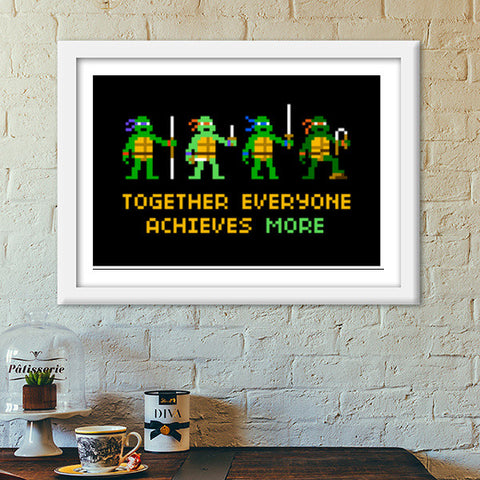 Pixelvana - Together everyone achieves more pixel motivation poster Premium Italian Wooden Frames | Artist : 8bitbaba