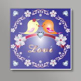 Love Birds Square Art Print | Madhumita Mukherjee