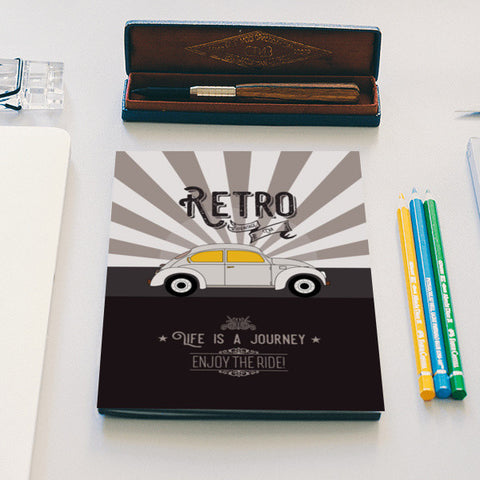 Retro vintage car on gray Notebook | Artist : Designerchennai