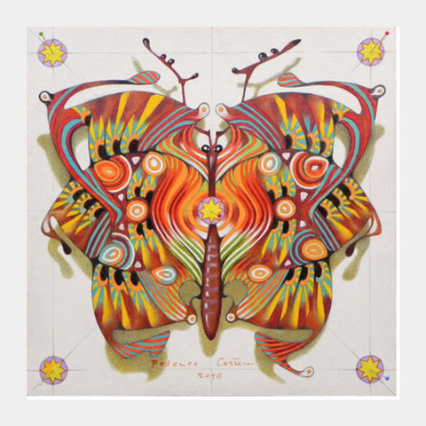 tribal butterfly Square Art Prints | Artist : federico cortese