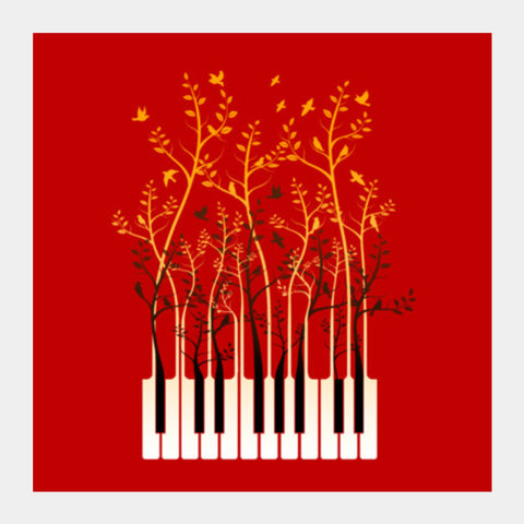 Piano Birds Square Art Prints | Artist : chetan adlak
