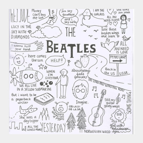 Square Art Prints, Beatles doodle Square Art Prints | Artist : Anjali Nilakantan, - PosterGully
