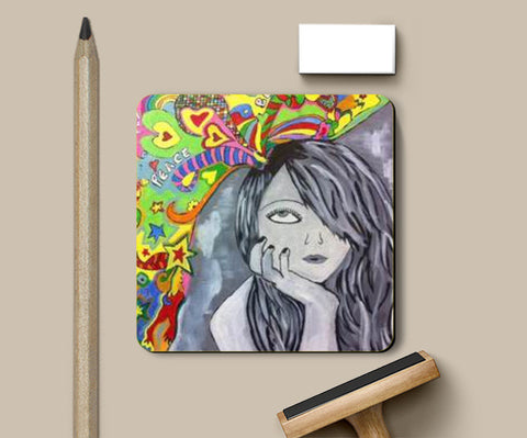Coasters, Girl in Fantasy World Coaster | Artist: Meghna Garg, - PosterGully