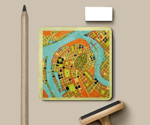 Coasters, imaginary map of koblenz Coasters | Artist : federico cortese, - PosterGully