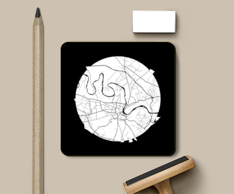 PosterGully Coasters, Agra Map, Black and White, India Map, World Map, Minimal Art, Poster, Wall Decor Coasters | Artist : Shikhar Bhardwaj, - PosterGully