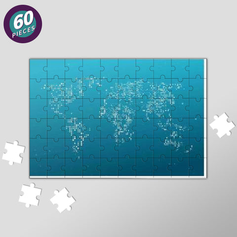 Blue & White World Map Jigsaw Puzzles | Artist : Inderpreet Singh