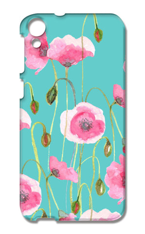 Beautiful Painted Pink Poppy Flowers Mint Floral Design HTC Desire 820 Cases | Artist : Seema Hooda