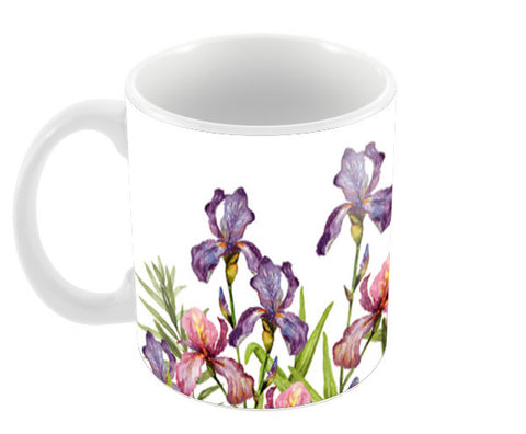 Beautiful Iris Flowers Watercolor Floral Design  Coffee Mugs | Artist : Seema Hooda