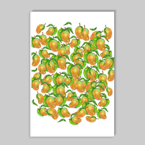 Mangoes Watercolor Fruit Pattern Kitchen Food Art Stick Ons | Artist : Seema Hooda