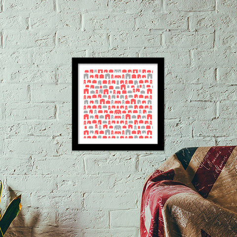 RED or GREY Premium Square Italian Wooden Frames | Artist : PUJA KUMAR