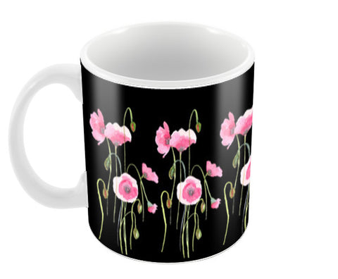 Elegant Painted Pink Poppy Flowers Pattern Black  Coffee Mugs | Artist : Seema Hooda