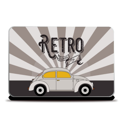 Retro vintage car on gray Laptop Skins | Artist : Designerchennai