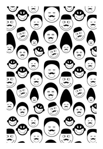 PosterGully Specials, Funny faces vector on black and white Wall Art | Artist : Designerchennai, - PosterGully