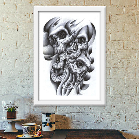 skull inside out abstract modern art Premium Italian Wooden Frames | Artist : akash biyani