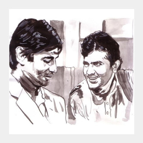 Amitabh Bachchan And Rajesh Khanna Discuss The Philosophy Of Life Square Art Prints PosterGully Specials