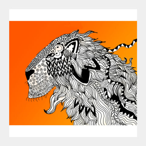 Majestic Lion Print Square Art Prints | Artist : Nalin Singh