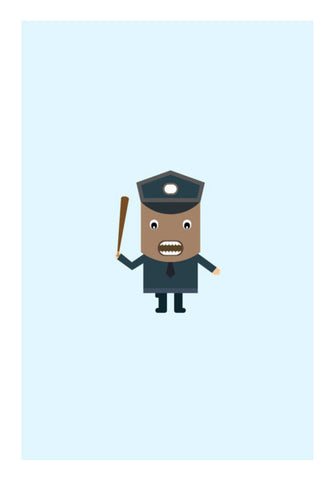 Cartoon of a strict policeman Wall Art | Artist : Mani Selvam