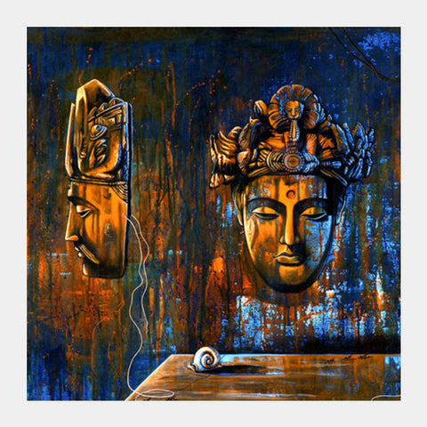 Bodhi Mask And Snail Square Art Prints PosterGully Specials