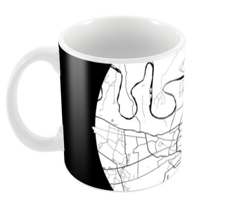 Agra Map, Black and White, India Map, World Map, Minimal Art, Poster, Wall Decor Coffee Mugs | Artist : Shikhar Bhardwaj