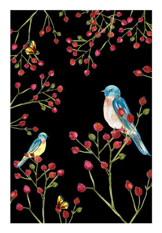 Winter Red Berries And Birds Nature Decor Nursery Print Art PosterGully Specials