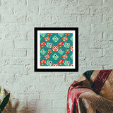Owl illustrations pattern on green background Premium Square Italian Wooden Frames | Artist : Designerchennai
