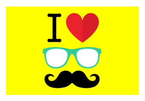 I Love Mustache Art PosterGully Specials