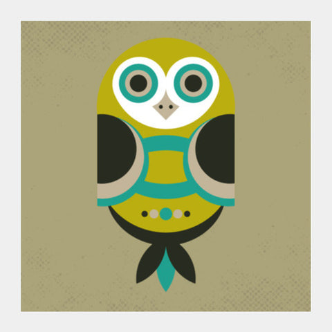 Unique geometric owl on dark Square Art Prints | Artist : Designerchennai
