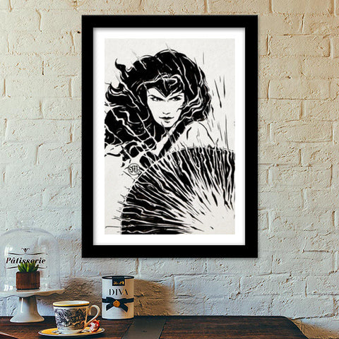 Wonder Woman fan art Premium Italian Wooden Frames | Artist : Monisha Miriam