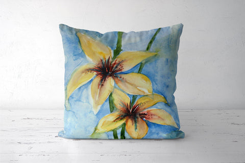 Lily Flower Cushion Cover l Artist: Seema Hooda