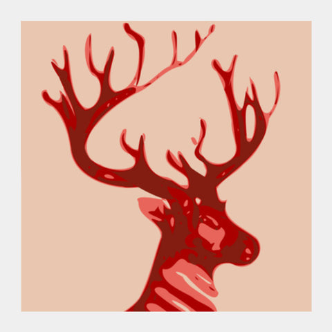 Square Art Prints, Abstract deer red Square Art | Artist: Keshava Shukla, - PosterGully