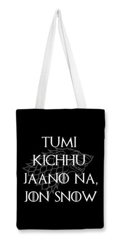 Tote Bags, What does Snow know? Tote Bags | Artist : Suraaj Ajithakumar, - PosterGully