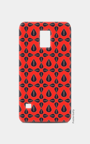 Seamless pattern with leaves on red background Samsung S5 Cases | Artist : Designerchennai