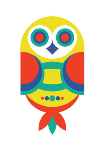 Multicolor Geometric Owl Art PosterGully Specials
