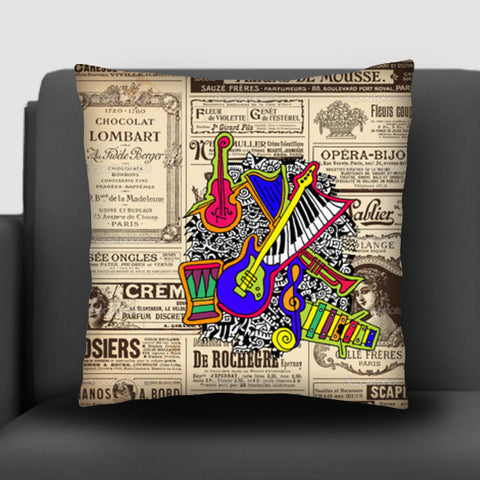 Vintage Music Zenscrawl Cushion Covers | Artist : Meghnanimous