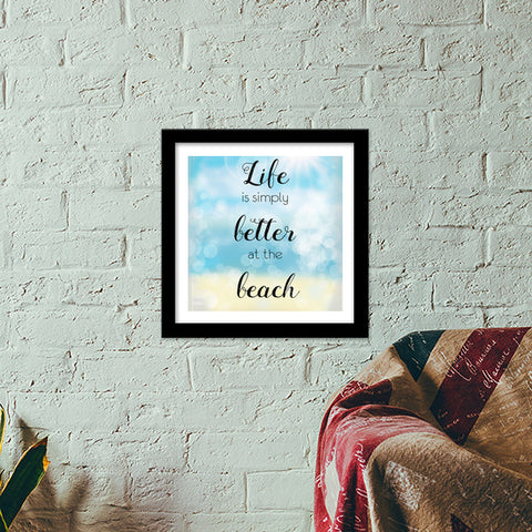 Life at beach Premium Square Italian Wooden Frames | Artist : Not Just Doodle