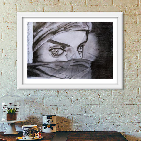 a girl of sorrow charcoal art Premium Italian Wooden Frames | Artist : RAJA S