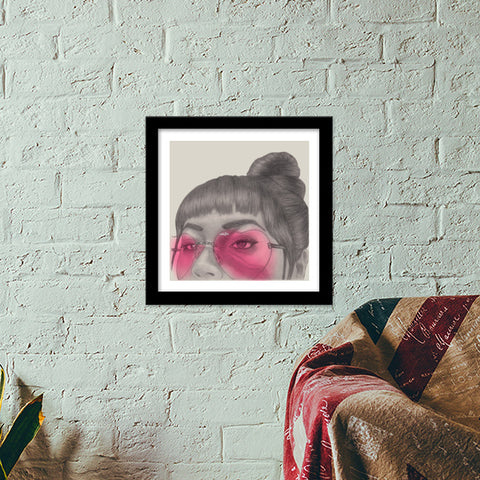 Betty With The Glasses Premium Square Italian Wooden Frames | Artist : Anniez Artwork