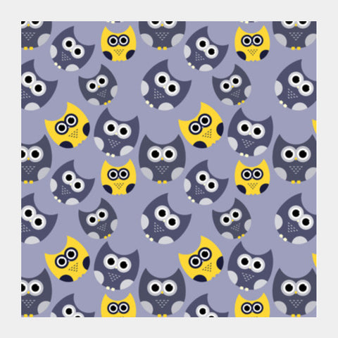 Owl illustrations pattern on gray background Square Art Prints | Artist : Designerchennai