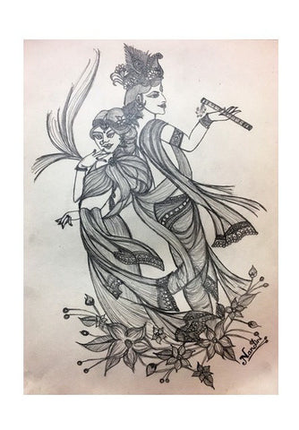 Radha Krishna | Pencil Sketch | Wall Art | Artist : Nandini Rawat