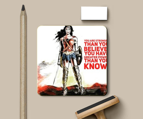 PosterGully Coasters, Wonder Woman quote Coasters | Artist : Draw On Demand, - PosterGully