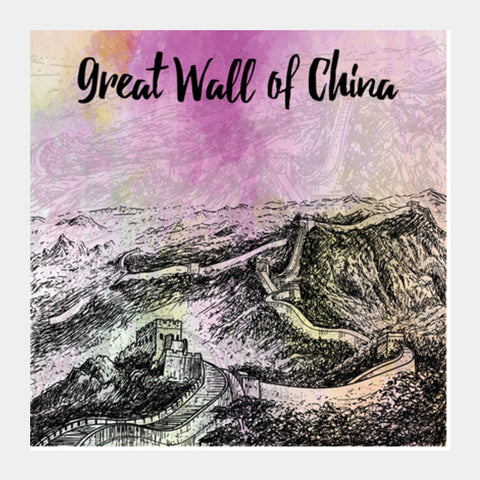 Great Wall of China Square Art Prints | Artist : Inderpreet Singh