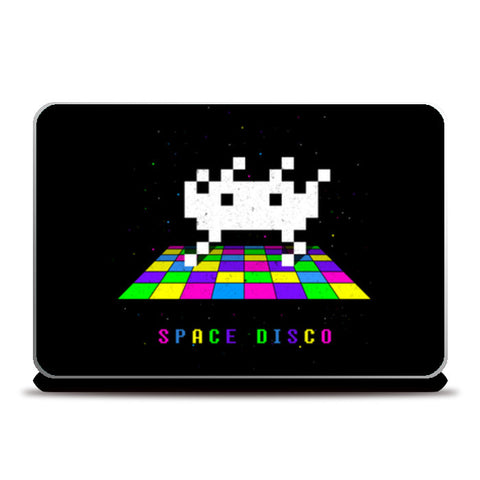 Space Disco pixel space invader dance Laptop Skins | Artist : 8bitbaba