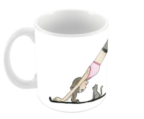 Yoga Kitten Mug Coffee Mugs | Artist : An Aliens Art