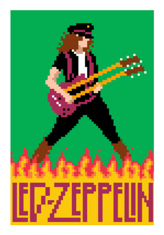 Led Zeppelin Jimmy Page Pixel Art Wall Art | Artist : 8bitbaba