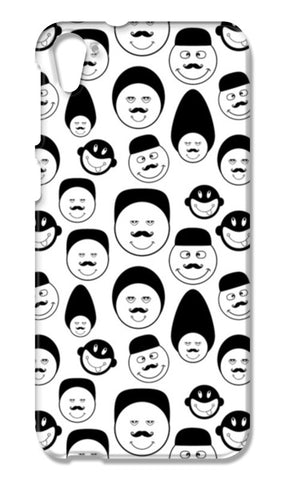 Funny faces vector on black and white HTC Desire 826 Cases | Artist : Designerchennai