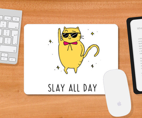Slay All Day Cool Cat Mousepad | Artist : Anjali Nilakantan
