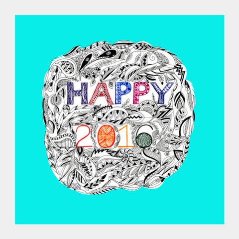 Happy 2016 Square Art Prints | Artist : Amulya Jayapal