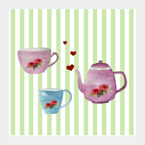 PosterGully Specials, Cute Teapot and Cups Teatime Kitchen Decor Illustration Square Art Prints | Artist : Seema Hooda, - PosterGully