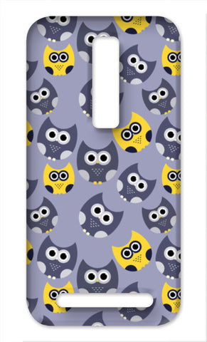 Owl illustrations pattern on gray background Asus Zenfone 2 Cases | Artist : Designerchennai